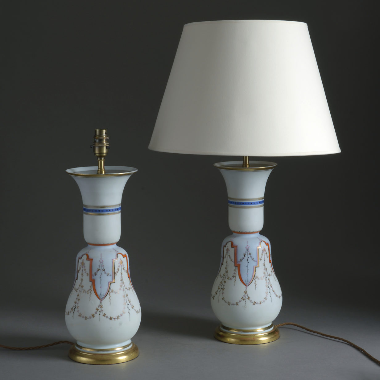 Pair of Opaline Glass Vase Lamps