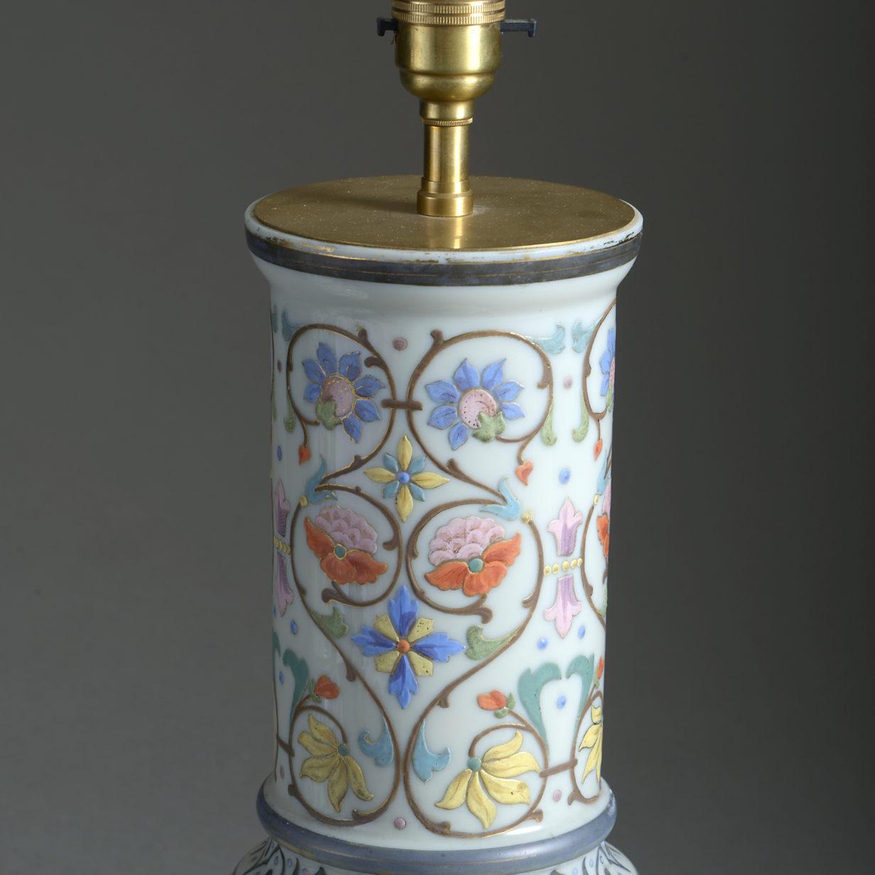 Pair of Bulbous Opaline Vase Lamps
