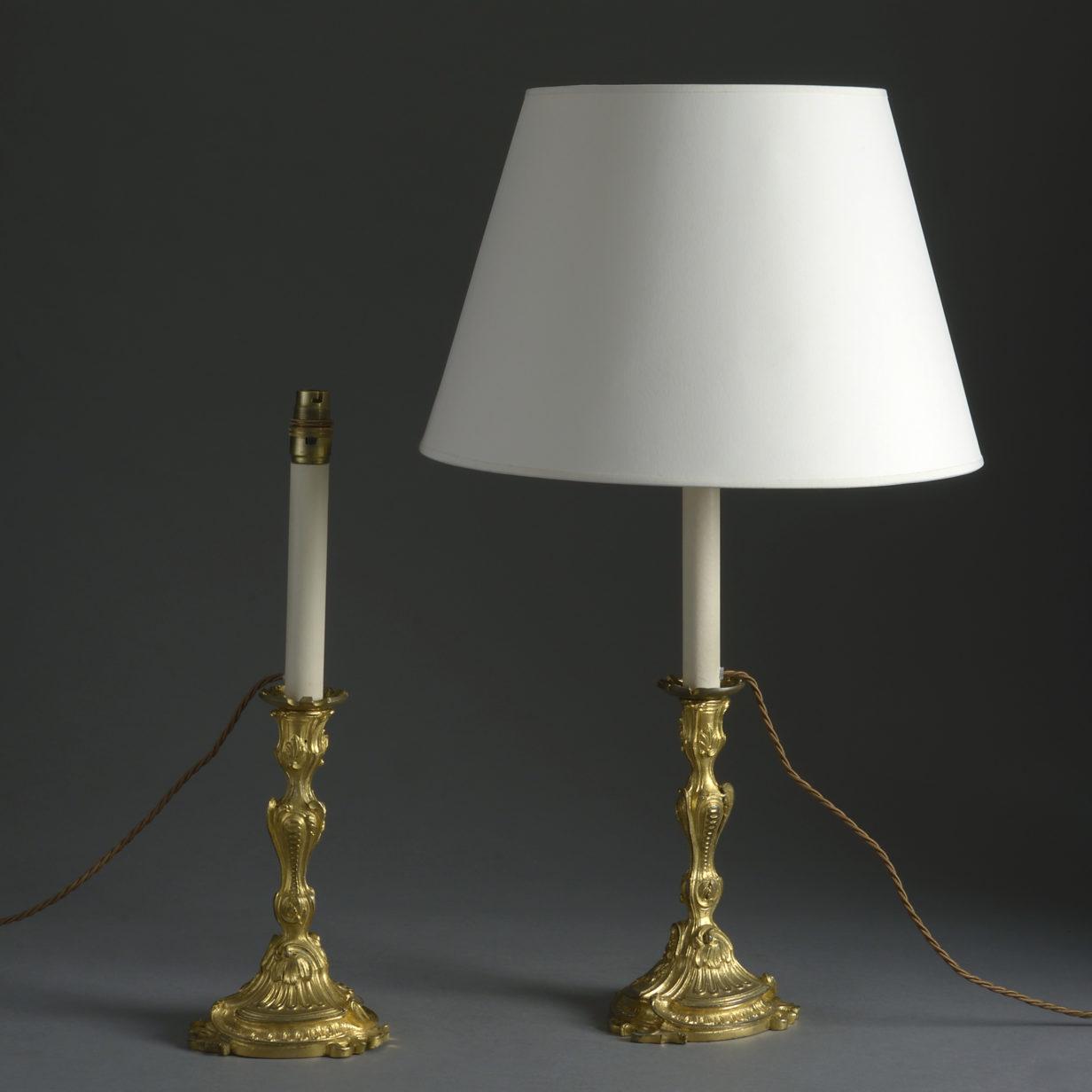 Pair of Rococo Ormolu Lamps