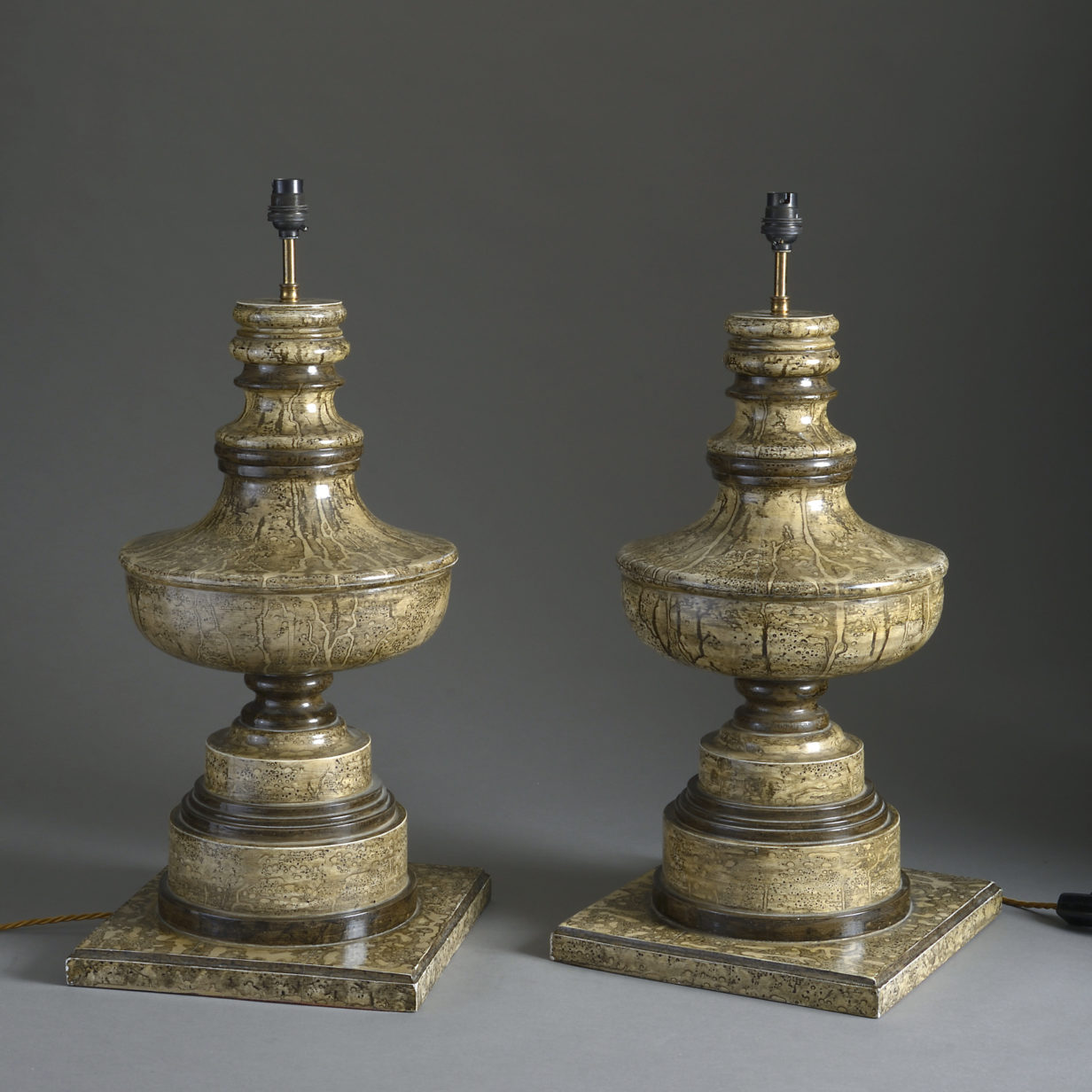Pair of Faux Marble Lamps