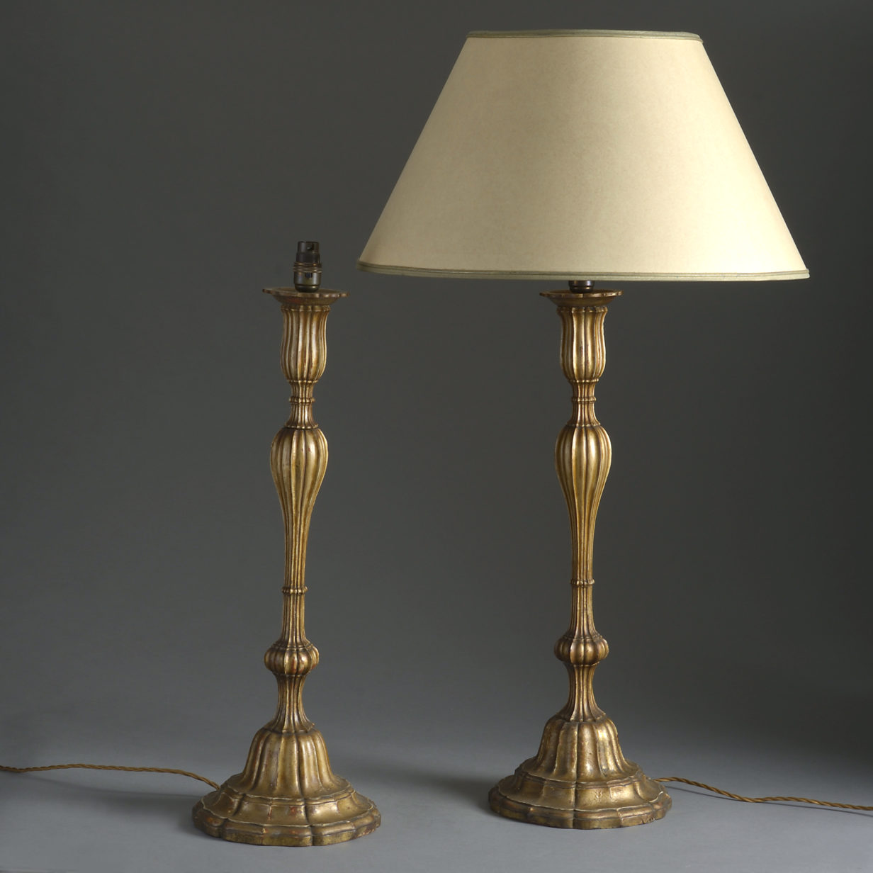 Pair of Carved Gilded Table Lamps
