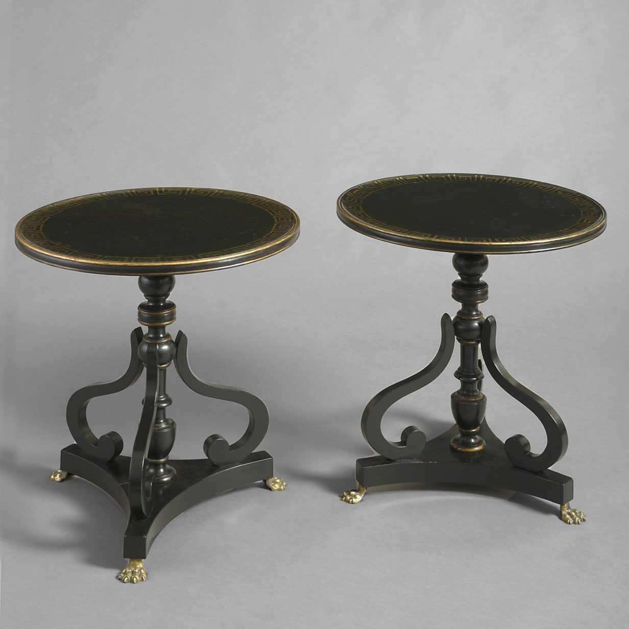 Pair of Early 20th Century Ebonised End Tables