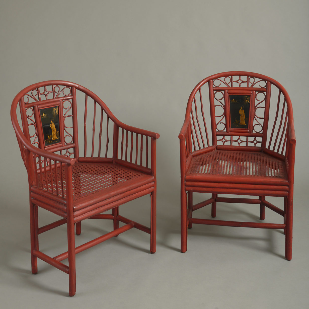 Pair of Red Lacquer Armchairs