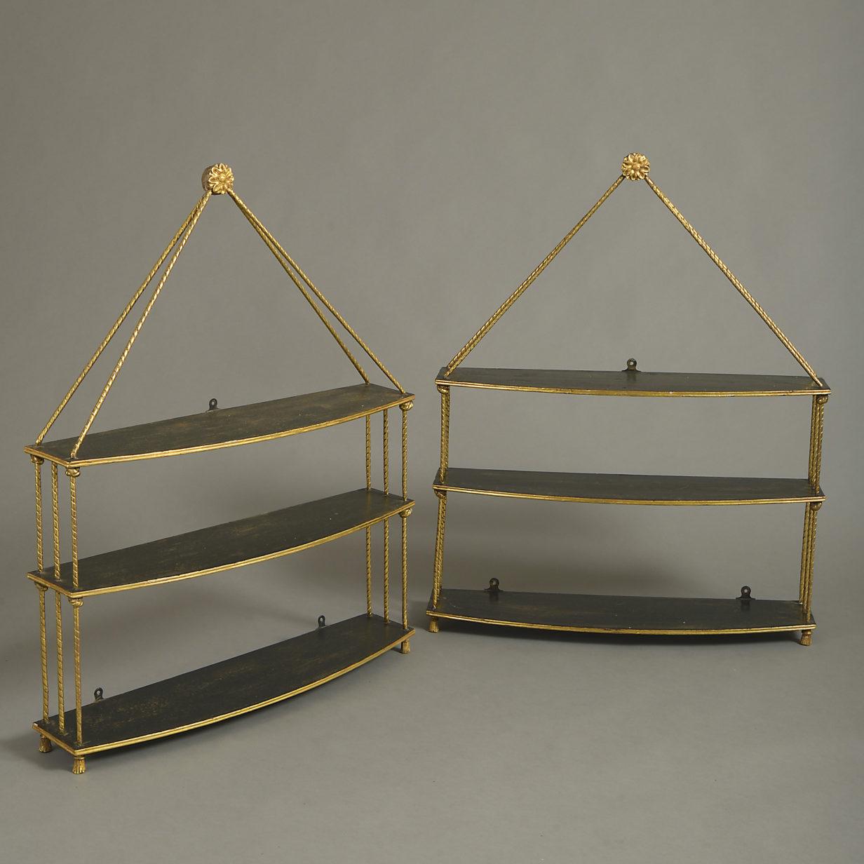 Pair of Regency Black Hanging Shelves