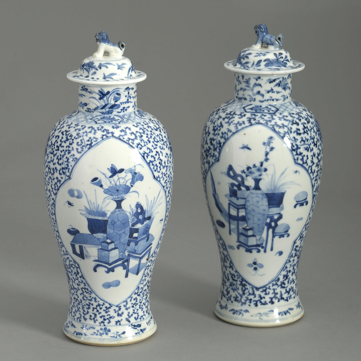 Pair of Tongzhi Blue and White Vases