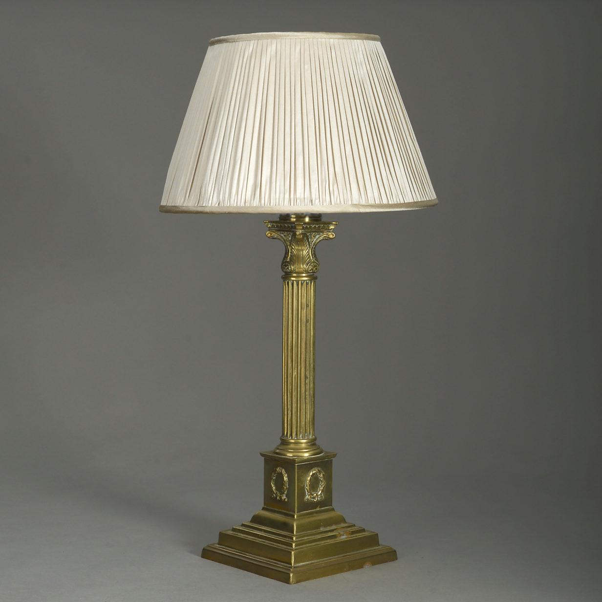 Victorian Brass Column Lamp