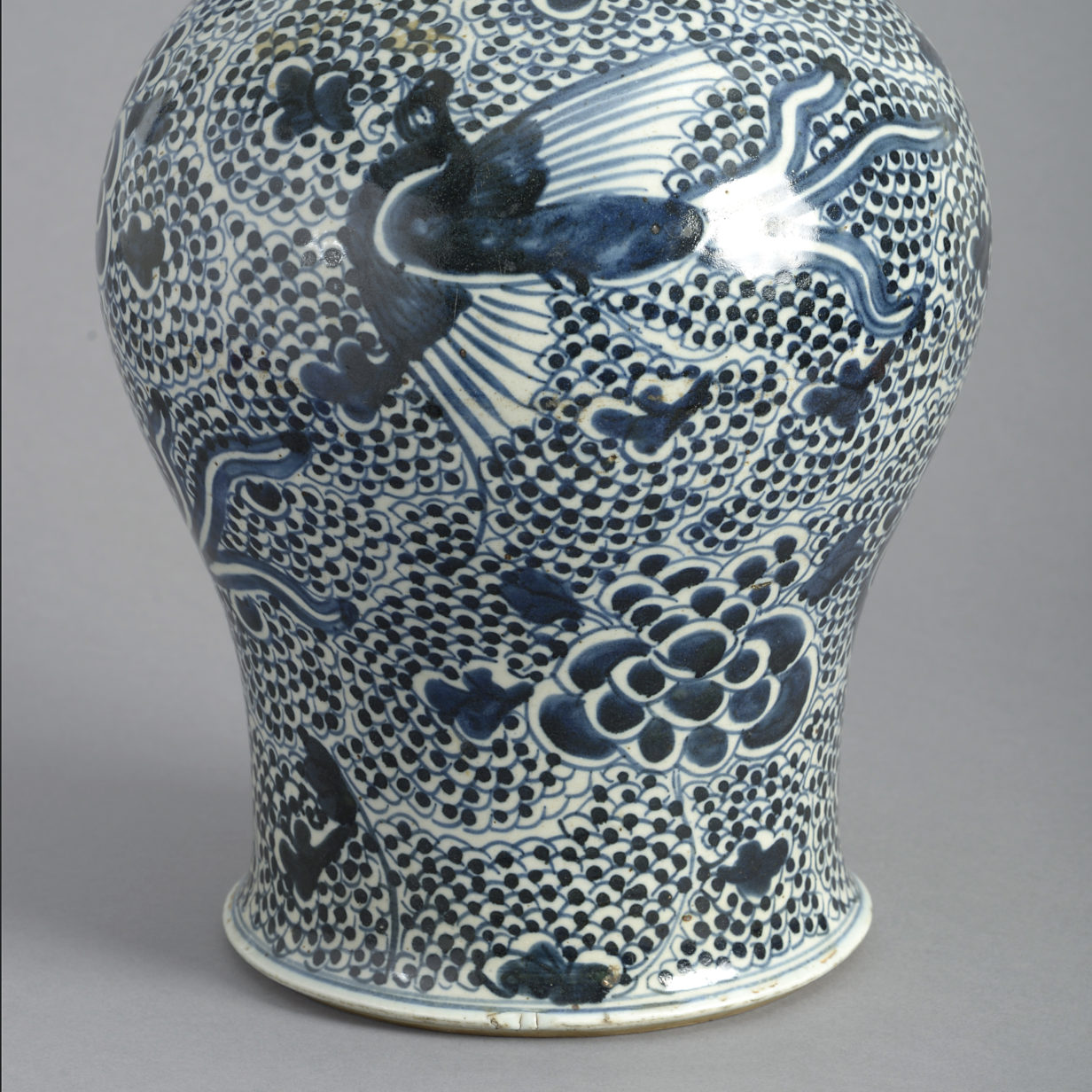 Dark Blue and White Kangxi Vase
