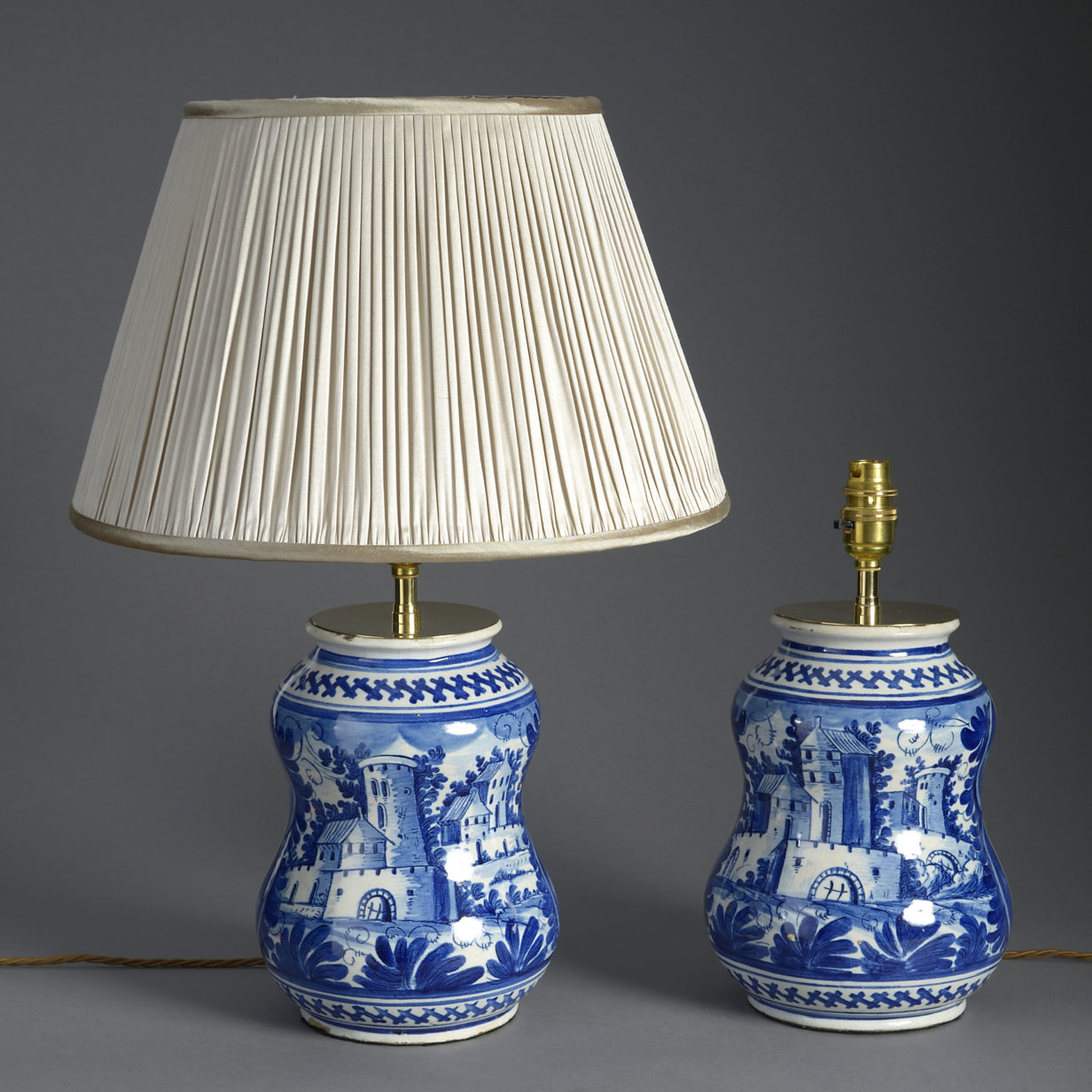 Pair of Blue and White Delft Vase Lamps