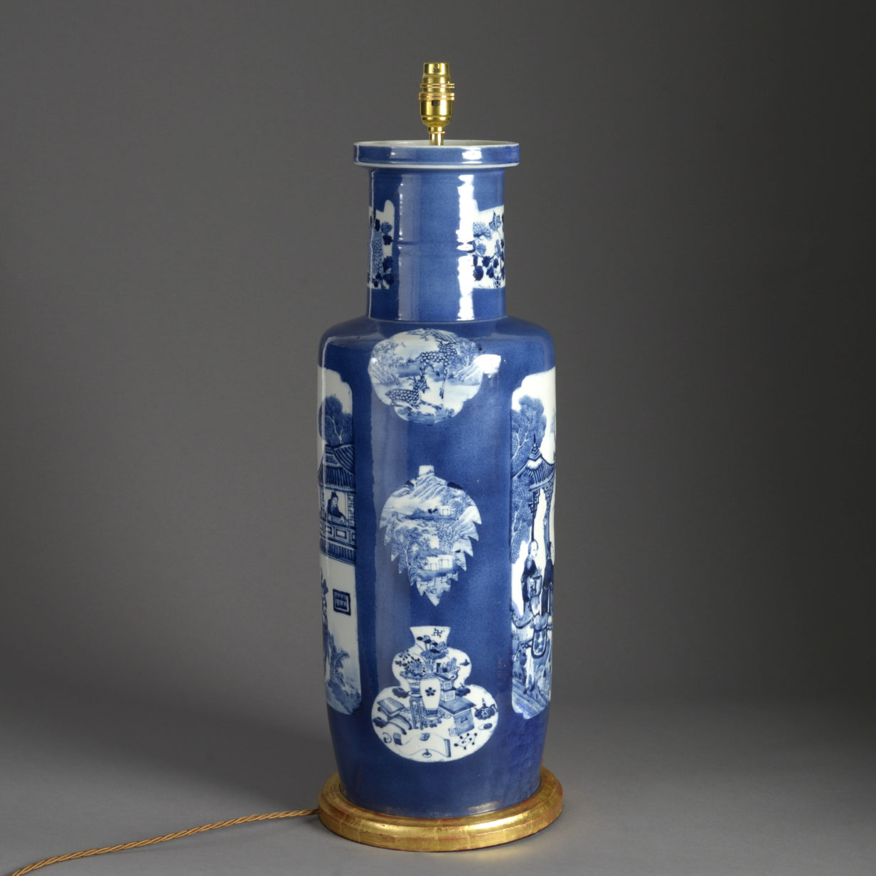 Blue and White Rouleau Vase Lamp
