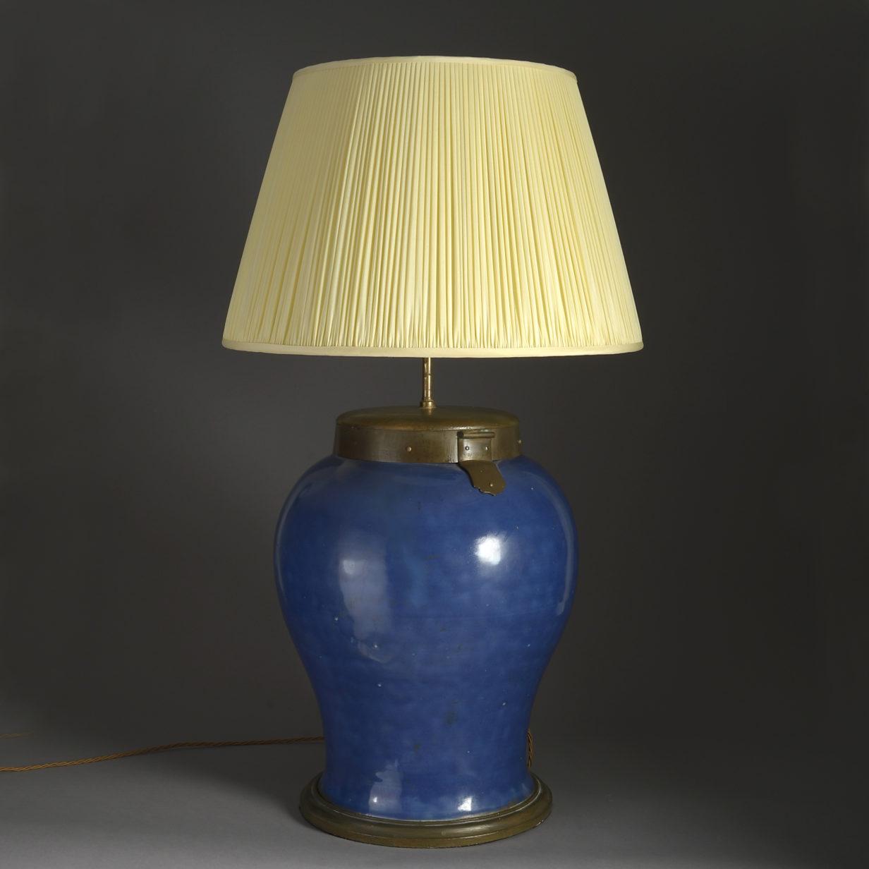 Powder Blue Vase Lamp