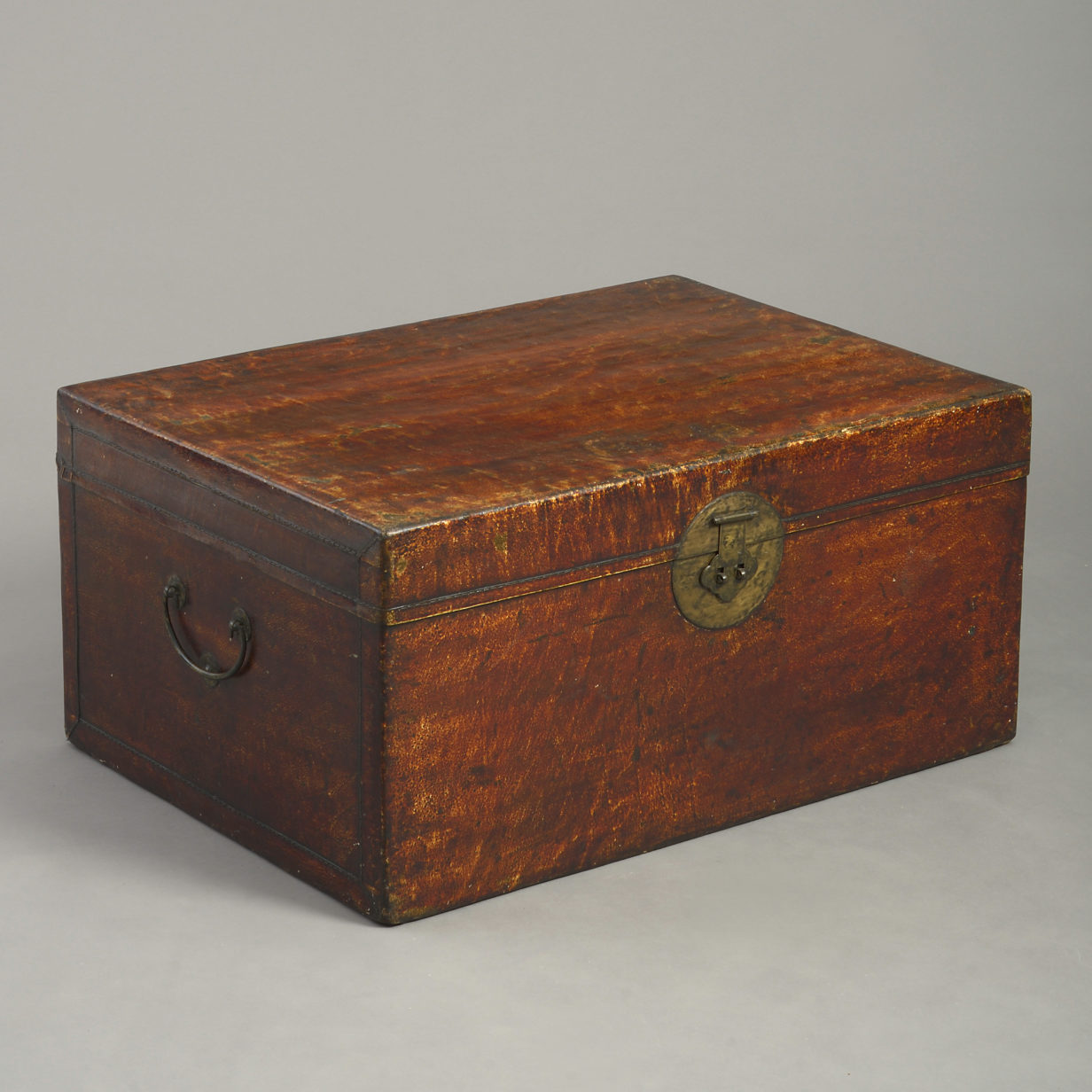 Chinese Red Leather Trunk