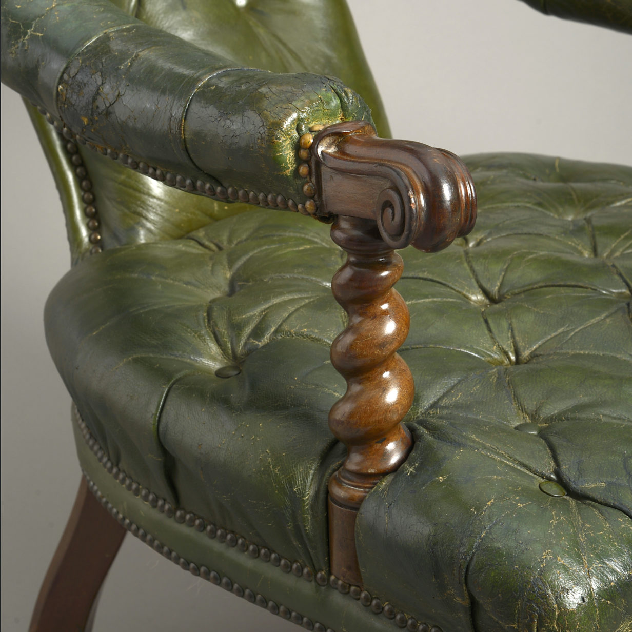 Green Leather Easy Chair