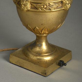 Gilt Brass Urn Lamp