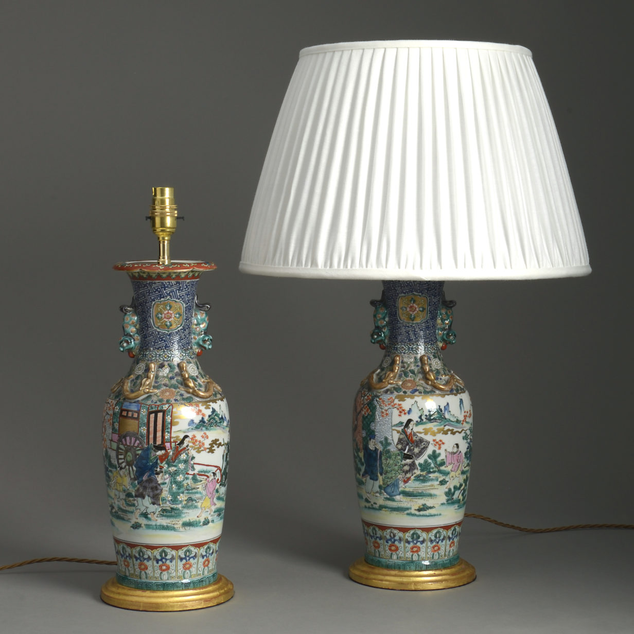 Pair of Kutani Lamps