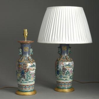 Pair of Kutani Lamps