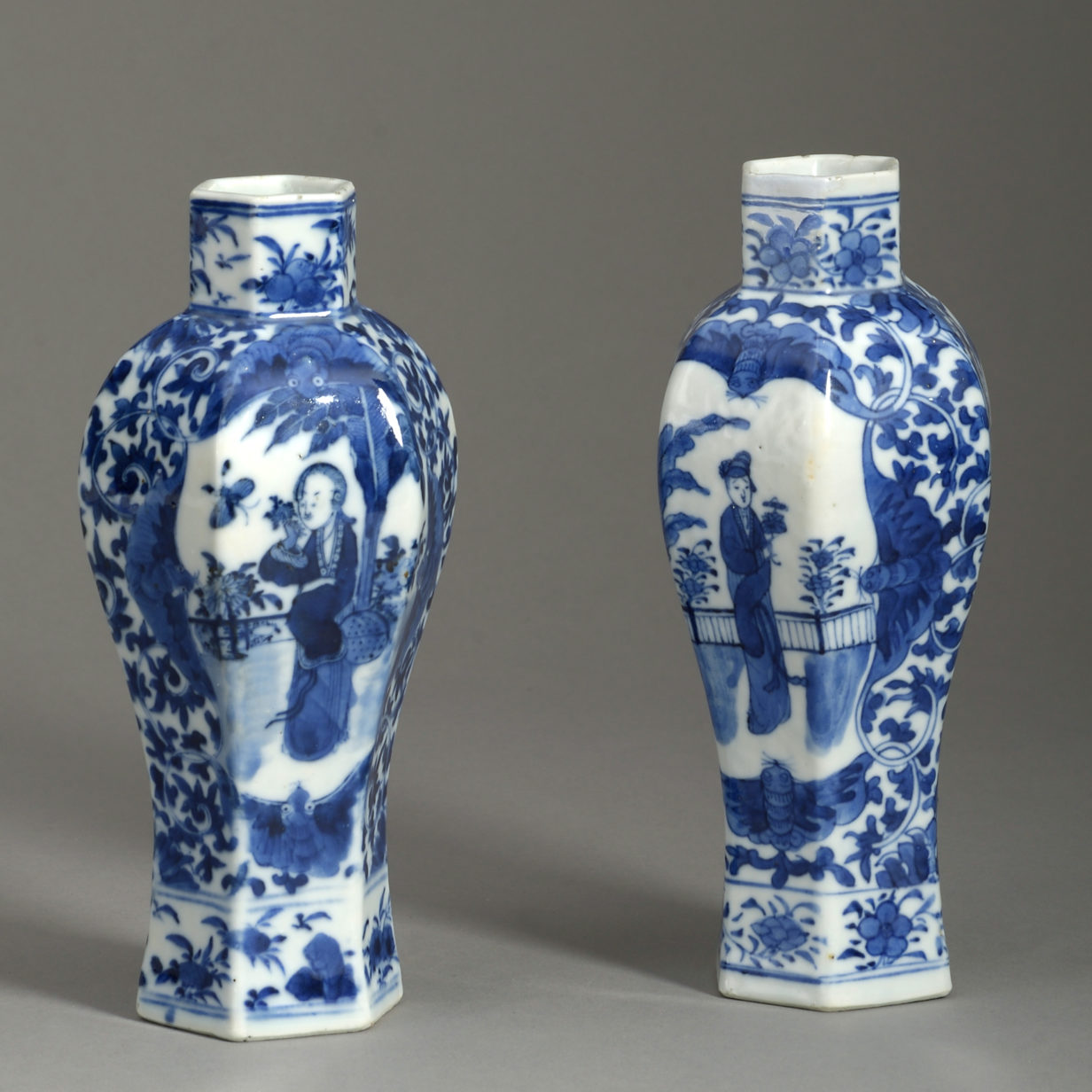 Pair of Small Blue & White Vases