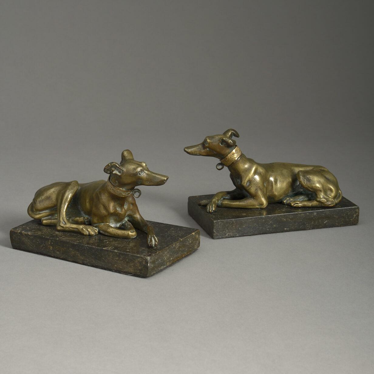Pair of Bronze Greyhounds