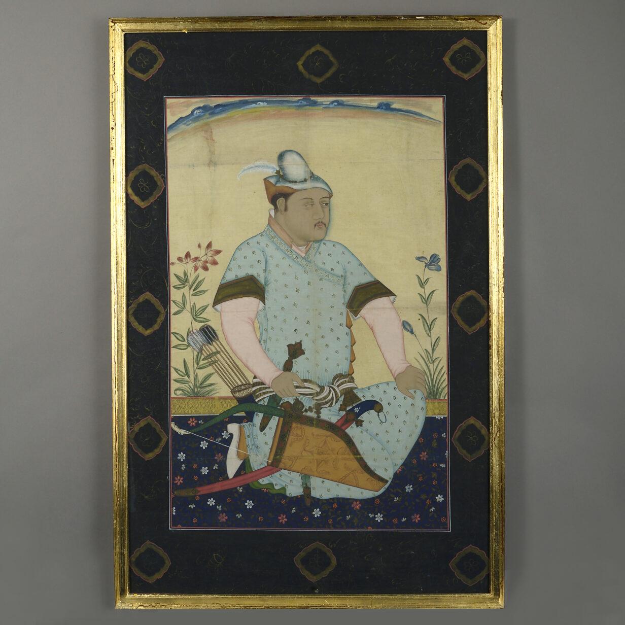 Indian Huntsman Gouache Portrait