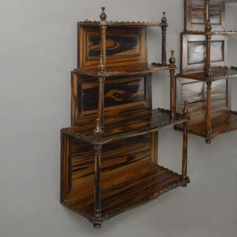 Pair of Calamander Hanging Shelves