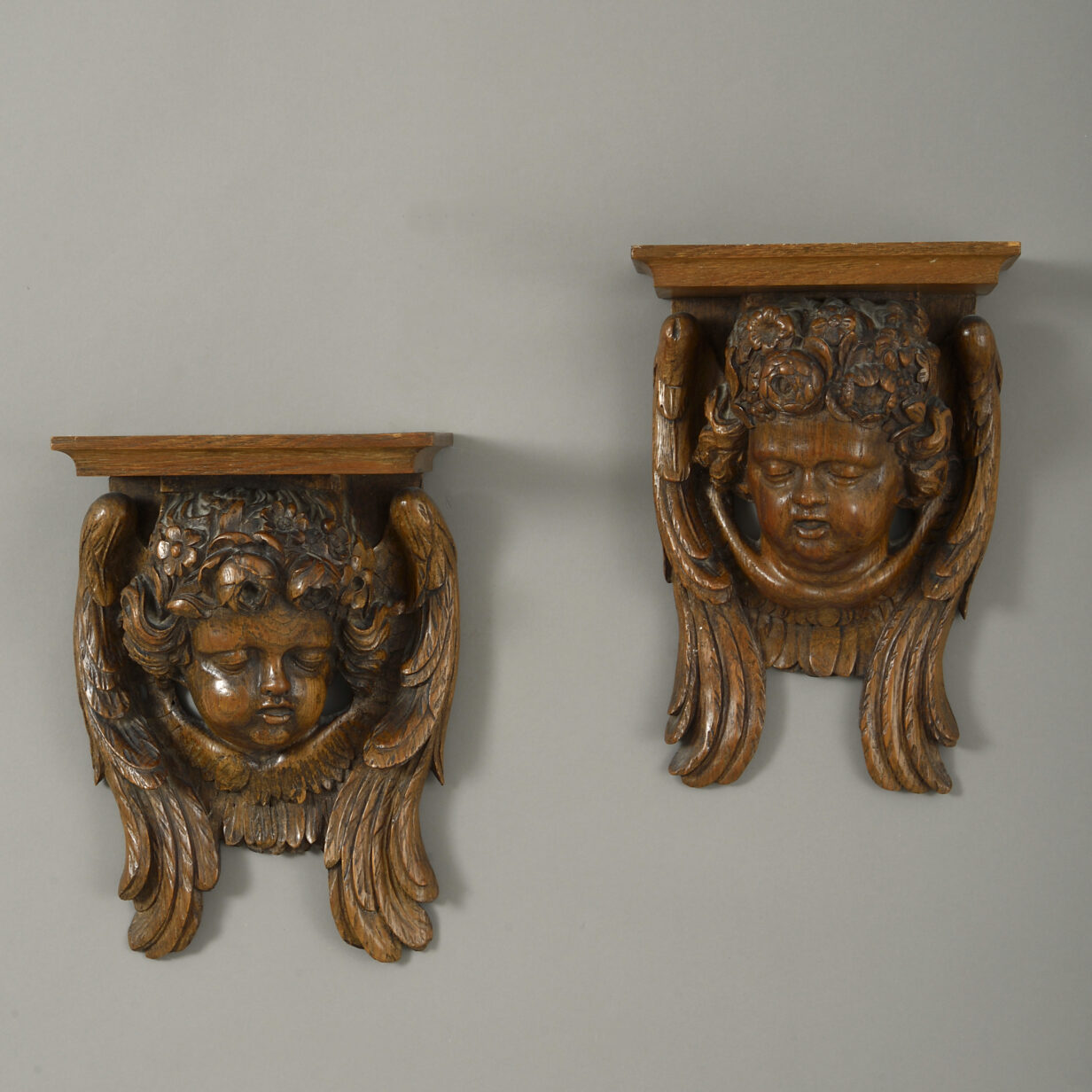 Pair of Cherub Wall Brackets