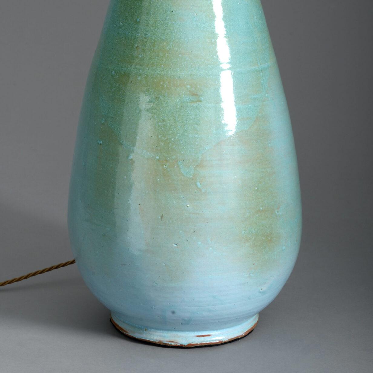 20th Century Turquoise Studio Pottery Vase Lamp