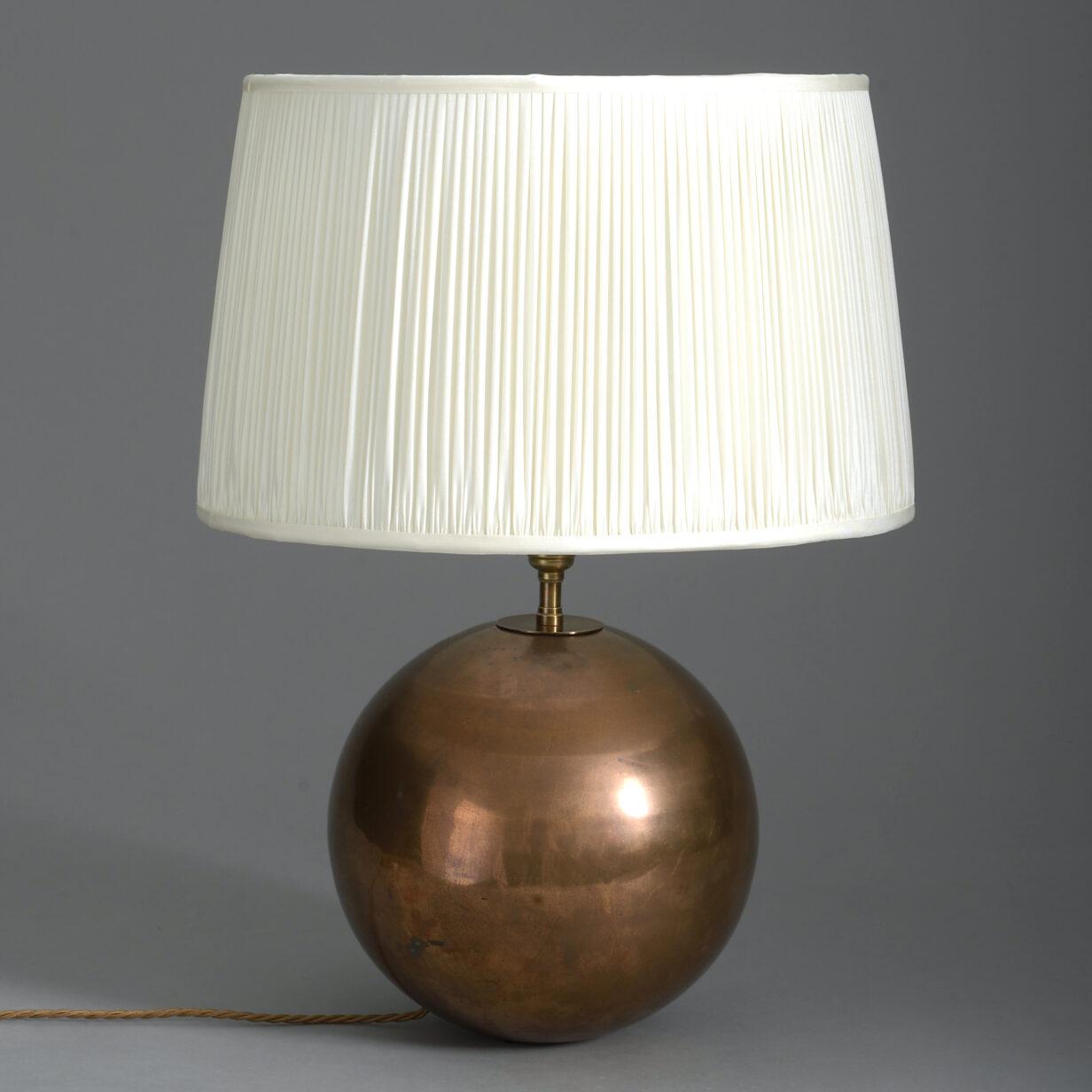 Mid-Century Copper Sphere Lamp Base