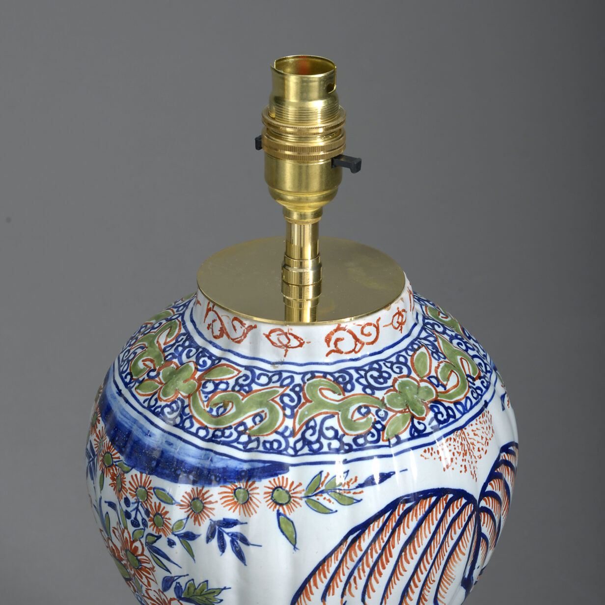 Pair of Polychrome Delft Vase Lamps