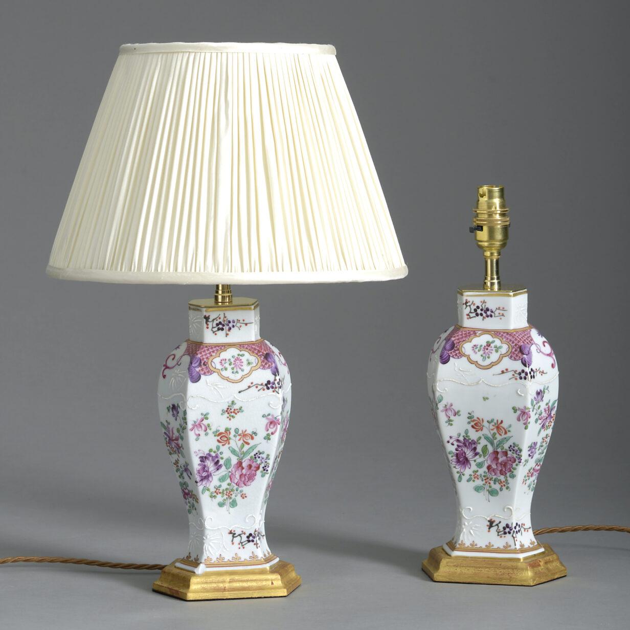 Pair Samson Famille Rose Vase Lamps