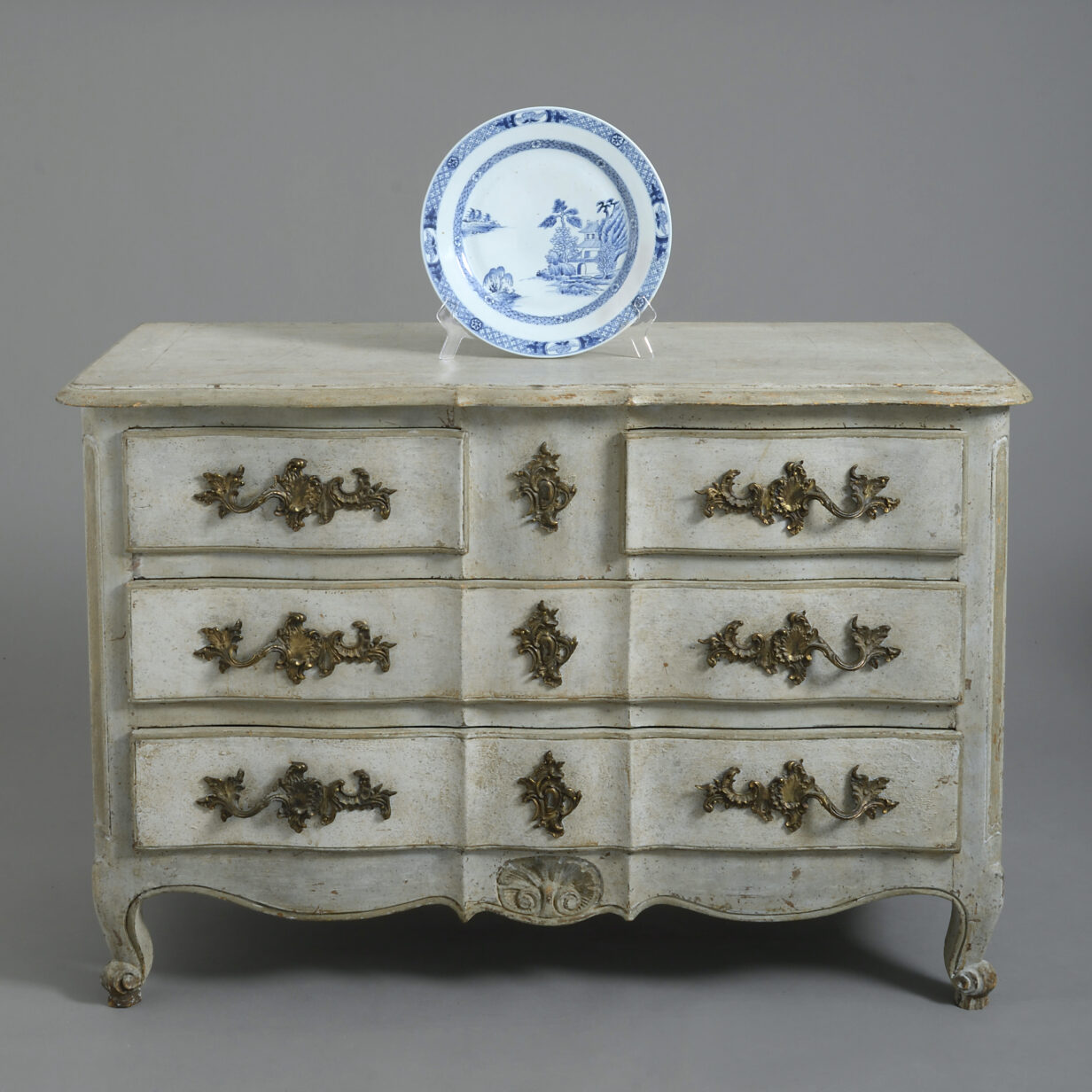 Grey Painted Louis XV Style Rococo Commode