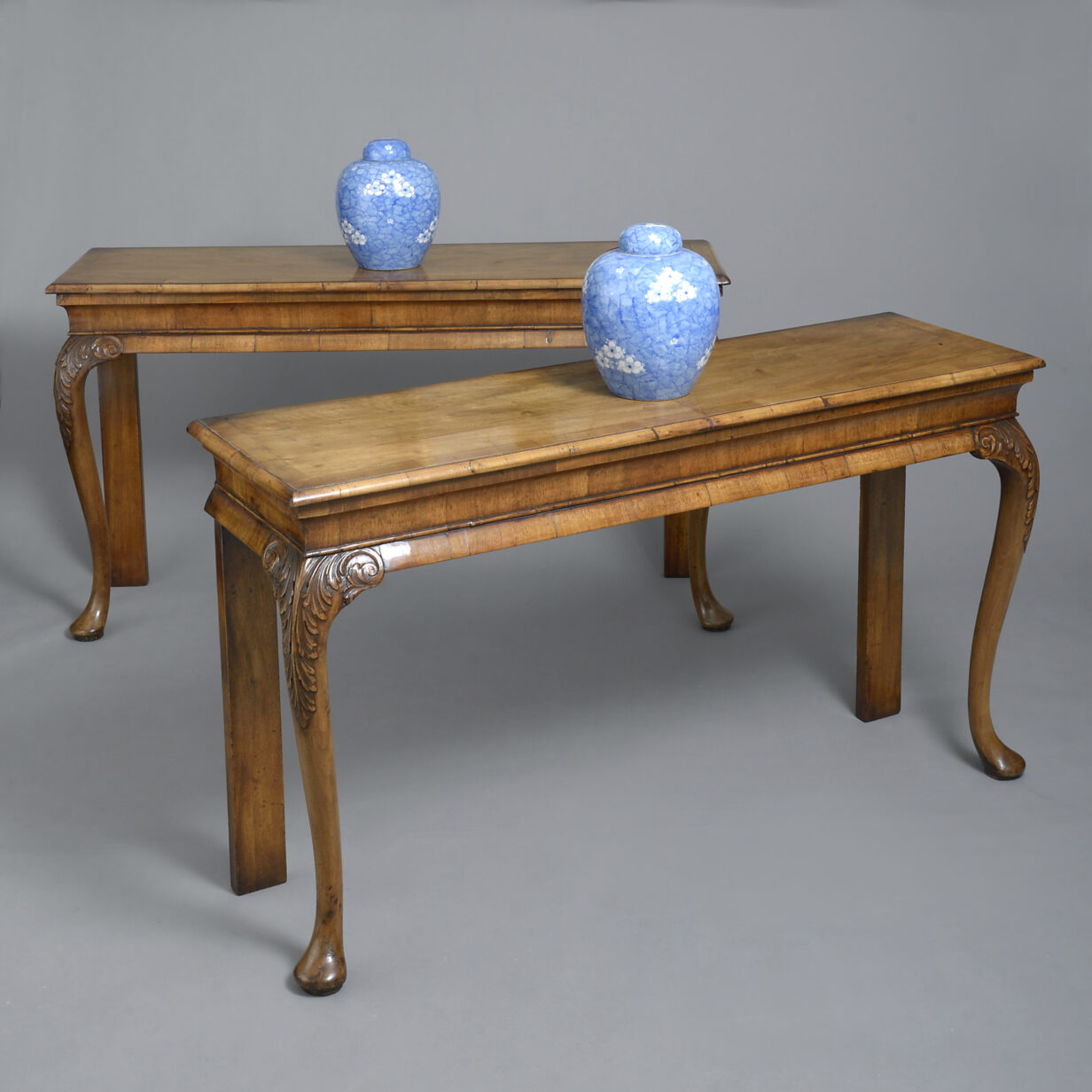 Pair of 19th Century Walnut Pier Tables