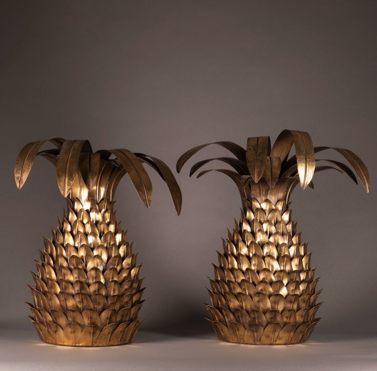 Pair of Gilt Metal Pineapple Wall Lights