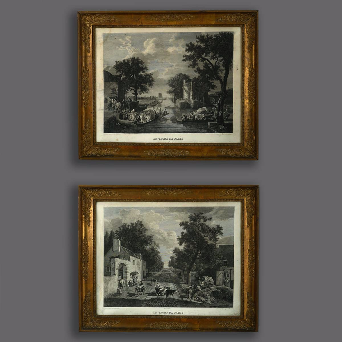 Pair of Empire Engravings of Paris