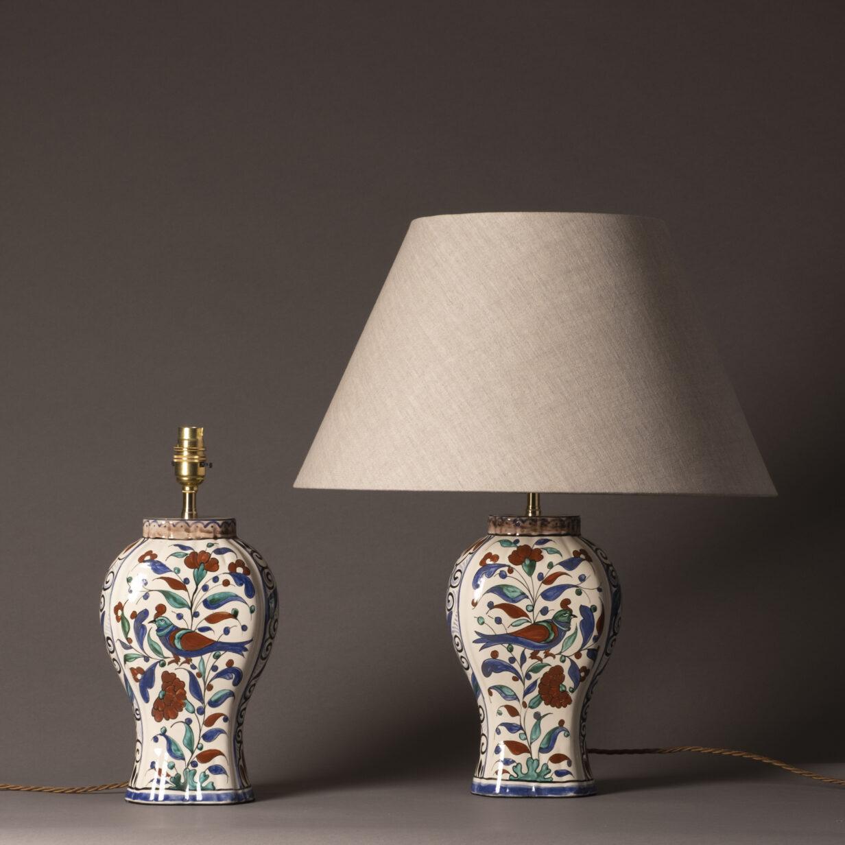 Pair of Faience Bird Lamps