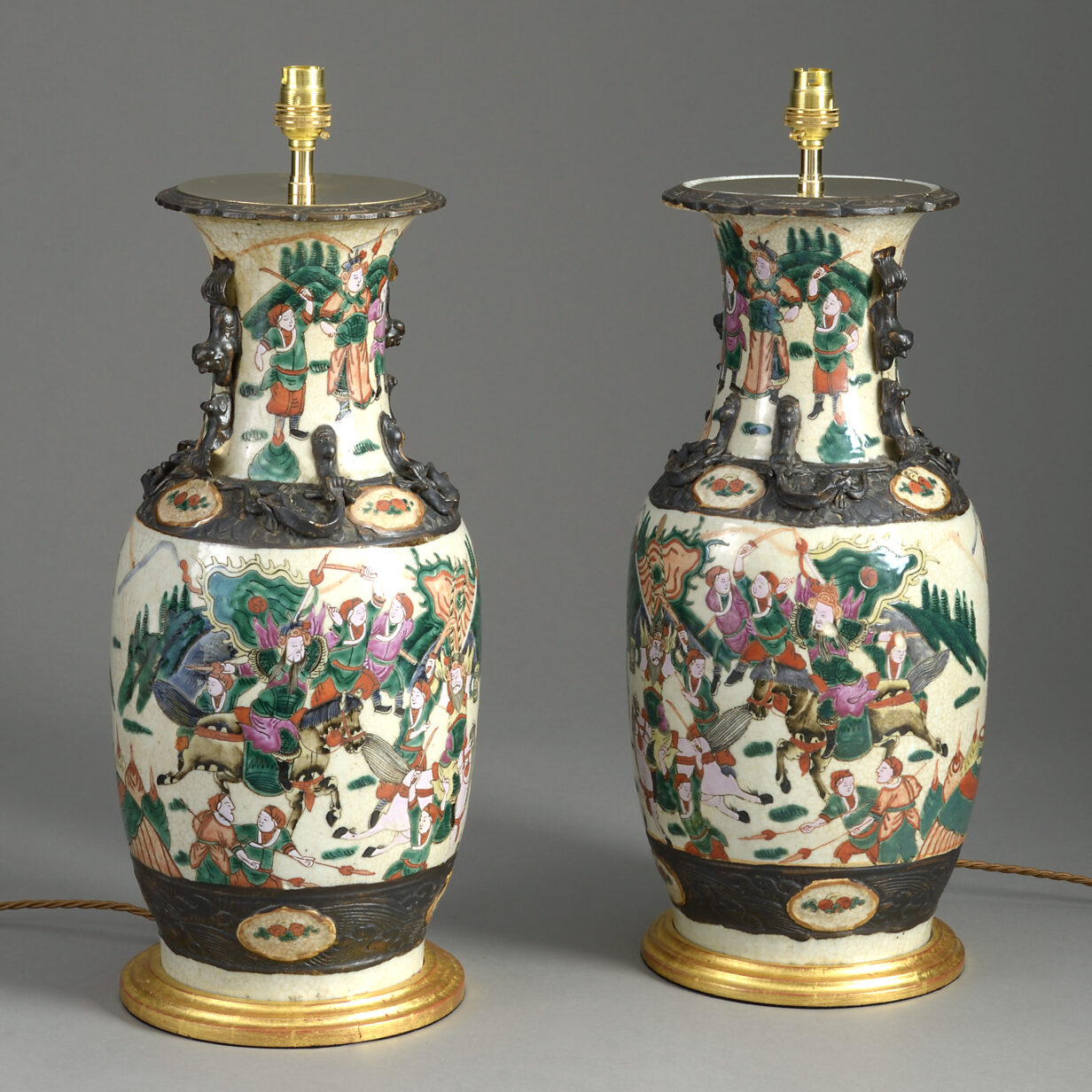 Pair Famille Rose Lamps