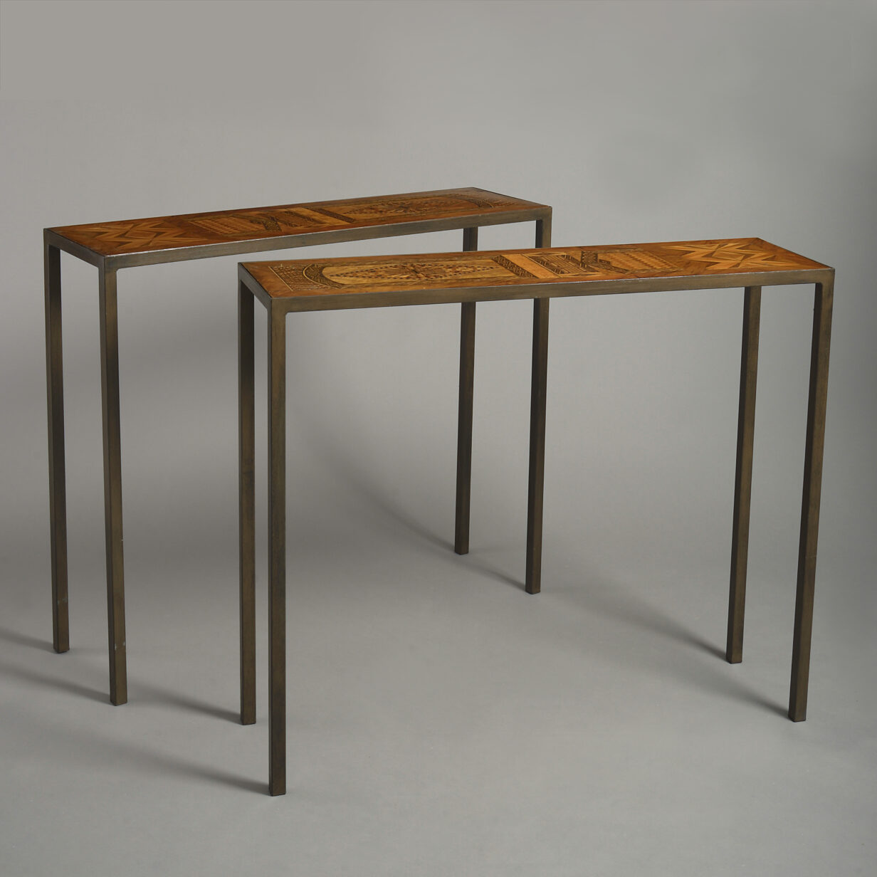 Pair of Parquetry and Iron Console Tables