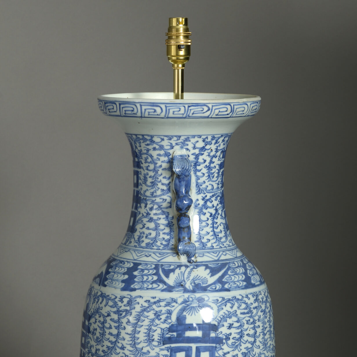 Tall Blue and White Vase Lamp