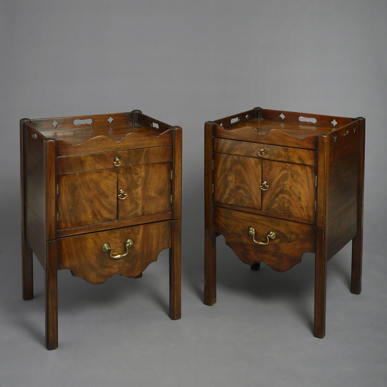 Pair of George III Mahogany Bedside Cabinets