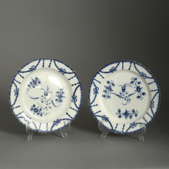Pair of Staffordshire Pottery Blue and White plates