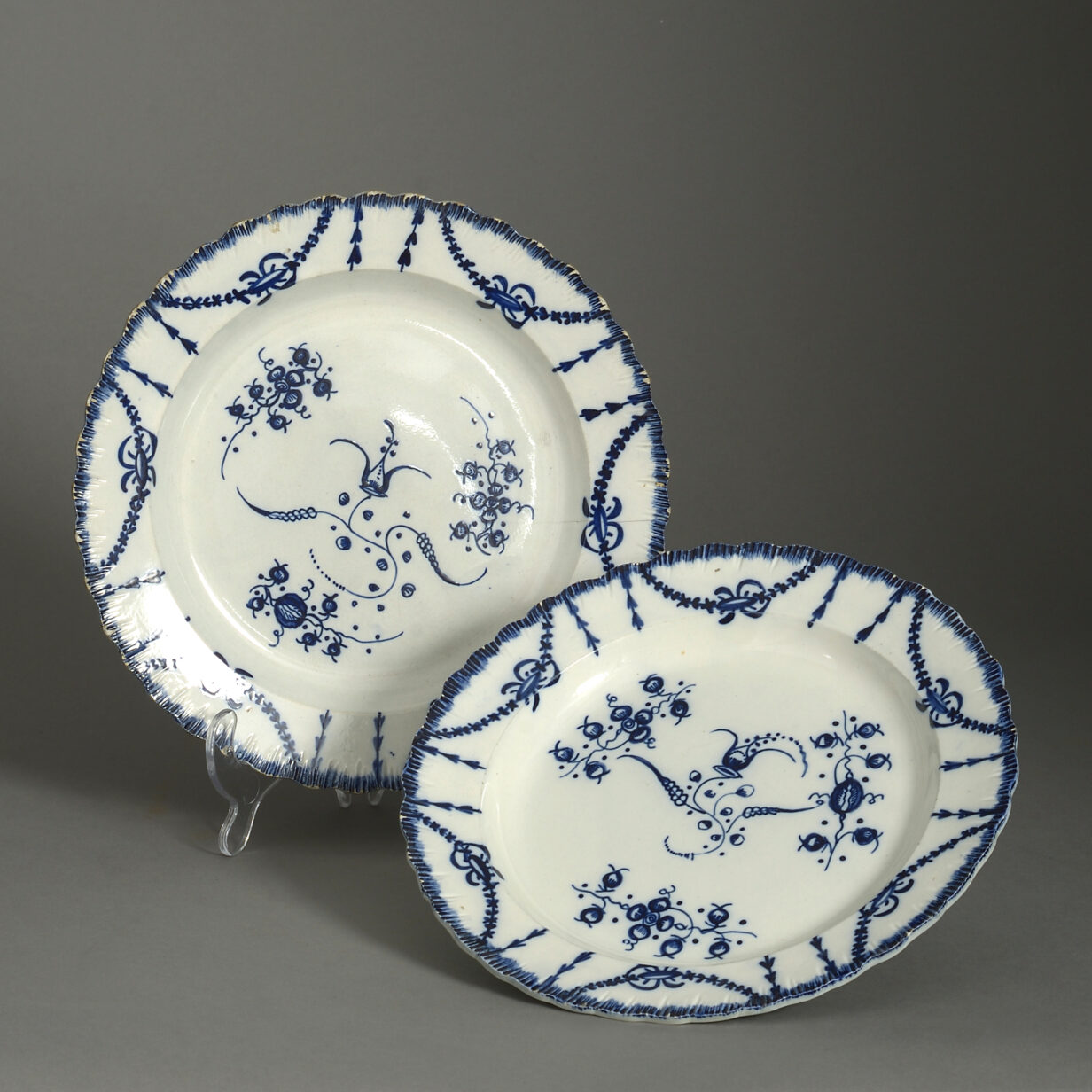 Pair of Staffordshire Blue and White Pottery Plates
