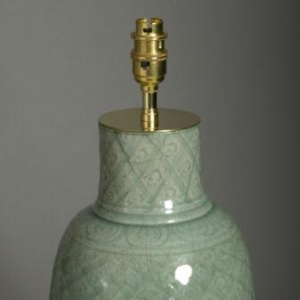 Ming Celadon Vase Lamp