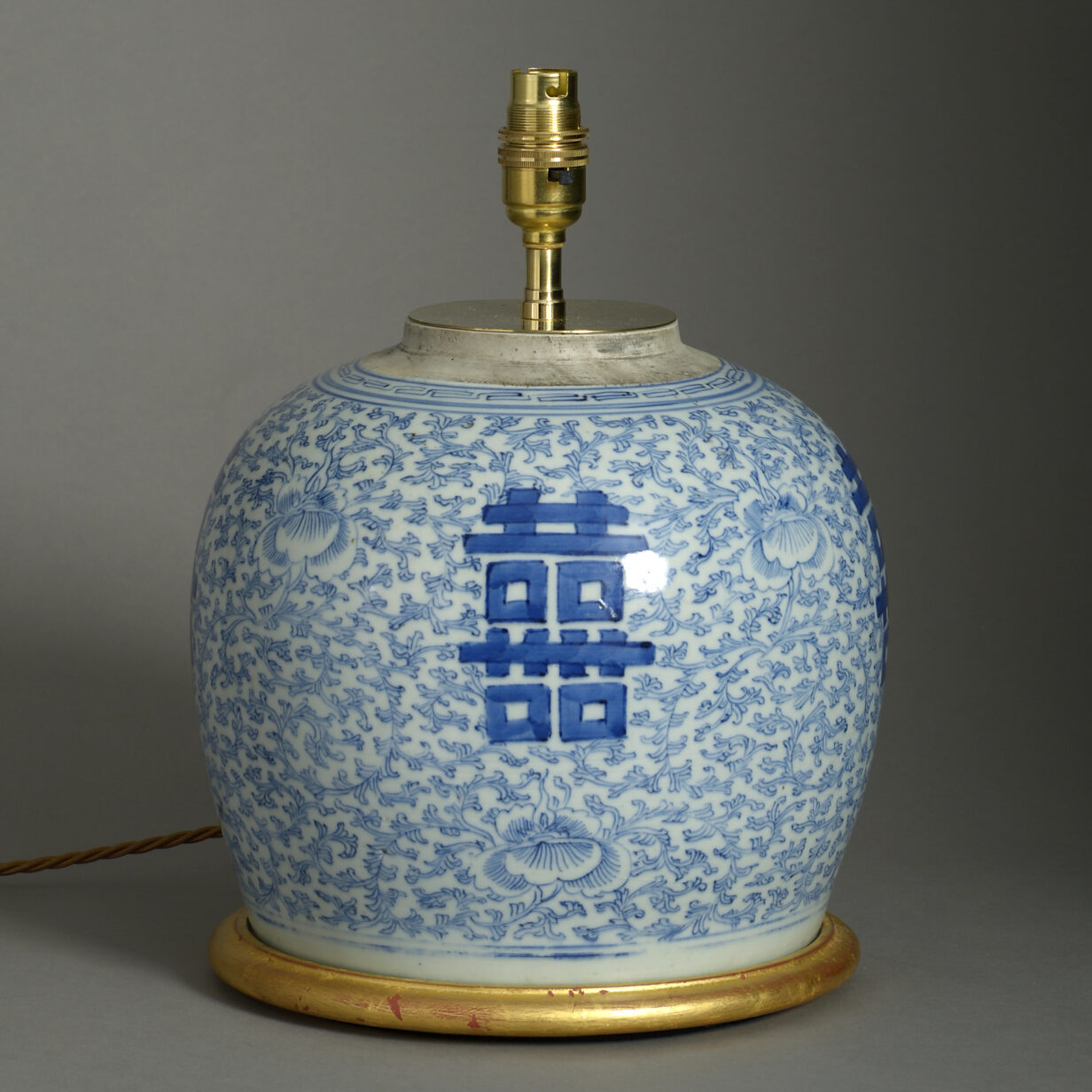 Blue and White Bulbous Jar Lamp