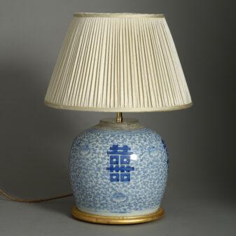 Blue and White Bulbous Jar Lamp