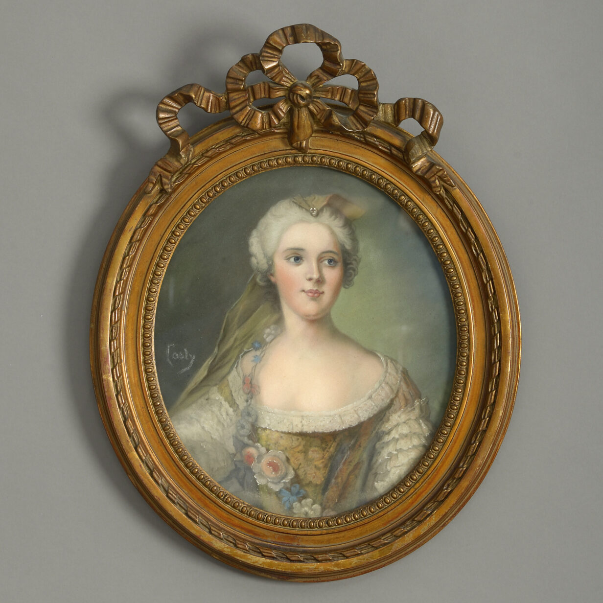 French School, 19th century A pair of portraits of Louise Henriette de Bourbon (1726 – 1759) and Françoise Marie de Bourbon, (1677-1749) Oval pastel on paper; signed indistinctly; held in decorative swaged frames Louise Henriette de Bourbon (1726 -1759), was a French princess, who, by marriage, became Duchess of Chartres (1743–1752), then Duchess of Orléans (1752–1759) upon the death of her father-in-law. In 1752, her husband became the head of the House of Orléans, and the 'Premier prince du sang', the most important personage after the immediate members of the royal family. Françoise Marie de Bourbon, (1677-1749) was the youngest illegitimate daughter of Louis XIV and his mistress, the Marquise de Montespan. At the age of 14, she was wed to her first cousin Phillippe d'Orléans, future Regent of France during the minority of Louis XV. Through two of the eight children she bore him in an unhappy marriage she became the ancestress of several of Europe's Roman Catholic monarchs of the 19th and 20th centuries, notably those of Belgium, Italy, Portugal, Spain, and France.