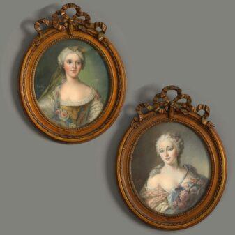 A pair of portraits of Louise Henriette de Bourbon (1726 – 1759) and Françoise Marie de Bourbon, (1677-1749)