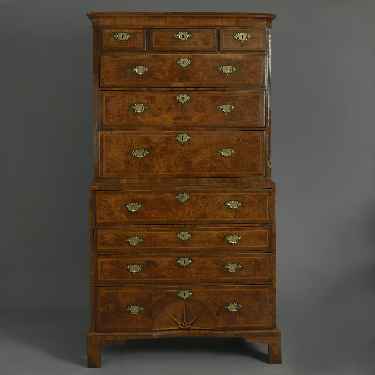 George I Burr Walnut Secretaire Chest on Chest