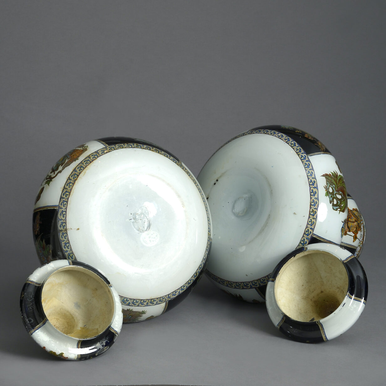 Pair of Decalcomania Gourd Vases