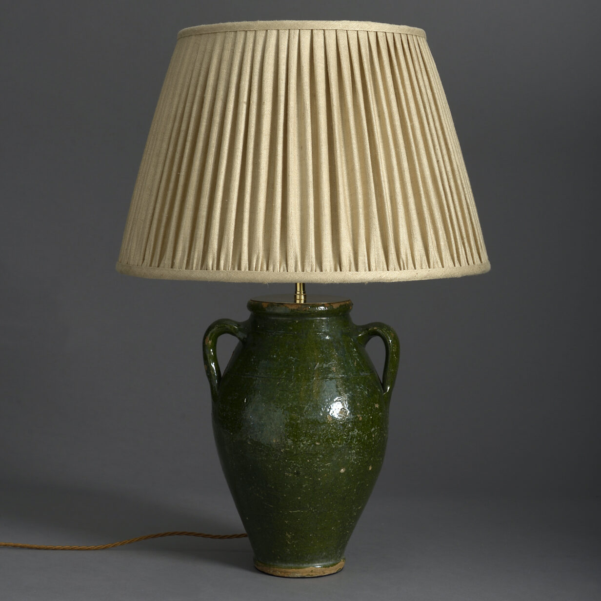 Green Glazed Pottery Vase Lamp