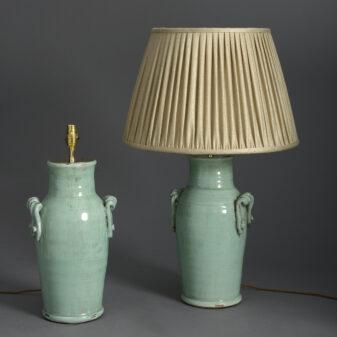Pair of celadon vase lamps