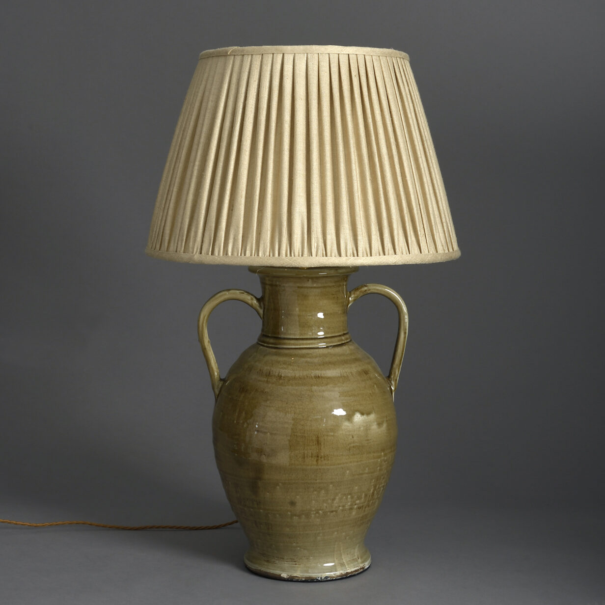 Sage Green Pottery Vase Lamp