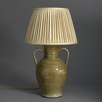 Sage Green Pottery Vase Lamp